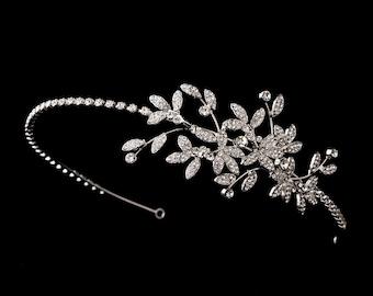 Crystal bridal headband wedding headband tiara leaf floral vine spray crystal wedding bridal hair accessories