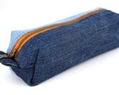 Zipper Pouch from Upcycled Denim, Lined with Upcycled T-shirt in Orange, Brass Zipper Helps Keeps Things Organized. New Use for Old Jeans.