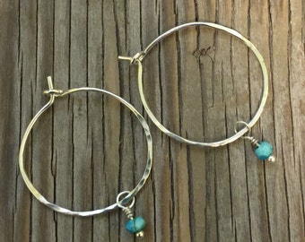 Handmade Earrings: Hammered sterling silver hoops with sleeping beauty turquoise drops