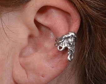 Silver Ear Cuff - Ear Wrap - Art Nouveau earring - Cartilage cuff - Non Pierced - Fairy ear cuff - Boho Ear Cuff - Sterling Silver cuff