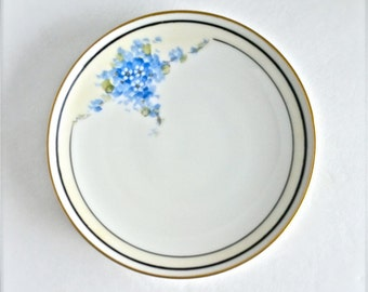 Hand painted Blue floral Plates, Made in Czechoslovakia, Set of 6, Pirkenhammer