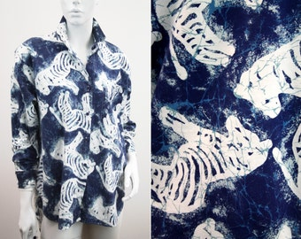 Blue and White Zebra Design Woman's Batwing High Low Button Down Blouse Shirt Top