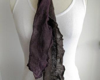 Merino, silk & stainless steel felted scarf - violet