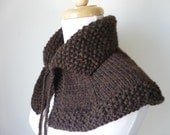 Knit Cape Outlander Inspired Collar Highlands Capelet Outlander Knits Shoulder Wrap In Walnut Rich Earthy Tones - READY TO SHIP