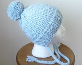 Knit Toddler Hat Chunky Split Brim Hat with Braids Winter Hat Glacier Blue Pompom Hat Size 1-3 Years - Ready to Ship - Direct Checkout