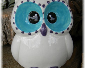 Ceramic  Owl Statue in  White trimmed in Purple and Turquoise cm Garden Decor or shelf indoors cm