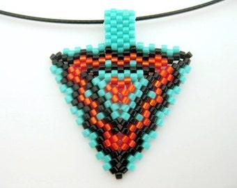 Peyote Triangle Pendant  / Beaded Pendant in Black, Turquoise and Orange  / Small Triangle Pendant / Geometric Pendant / Seed Bead Pendant