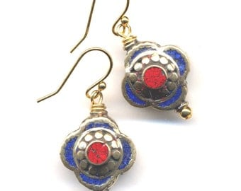 Tibet Earrings, LAST PAIR, Lapis Lazuli Earrings-Nepal Beads on 18K Gold Filled Wire - Handmade  Nepal Jewelry by AnnaArt72