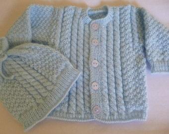 Knitted Boy Set, Baby Sweater/ Hat, Baby Shower Gift, Coming Home Set,  Vegan Boy Set, Newborn Boy Set.