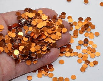 """1000 Orange Very Tiny 7/32"""" Discs Game Pieces Coins Anodized Aluminum Bright Orange Little Discs No Hole Thick Confetti Stamping Blanks"""