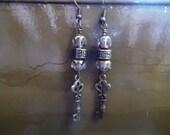 Bronze Key and Beads Charm Dangle Earrings