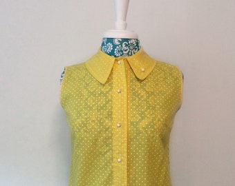 vintage 1940's blouse // polka dot rockabilly pinup bombshell fitted skinny fit
