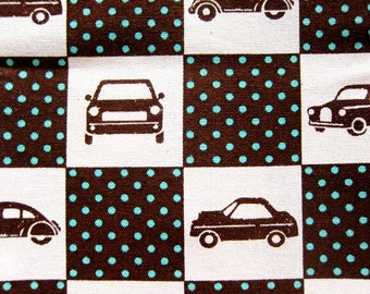 FREE SHIPPING Cars and Polka Dots Fabric - Cotton / Linen Blend Fabric - Cute Cars Fabric (F027) - Fat Quarter