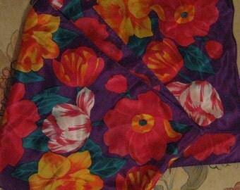 Vintage Echo 100% Silk Floral Multi Color Scarf