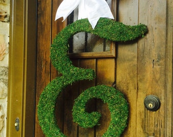 Moss Covered SCRIPT Wedding Door Initial Letter Wreath 24 inch
