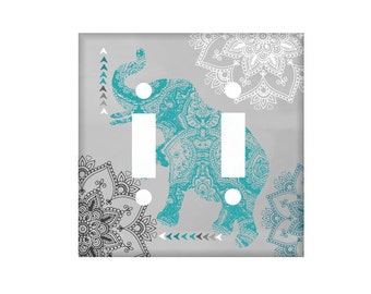 Boho Switchplate Cover - Elephant switchplate  - Teal Black Gray - Bohemian Bedroom Decor