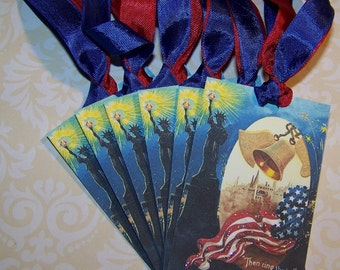 July 4th Tags Vintage Style Patriotic Tags Americana Tags Set of 6 or 9