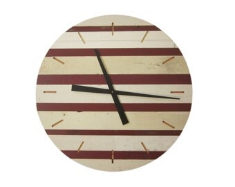 24 inch striped reclaimed wood wall clock