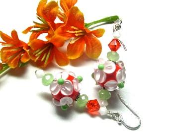Flower Earrings Orange Earrings Lampwork Earrings Floral Earrings Dangle Earrings Glass Earrings Artisan Earrings Glass Bead Earrings