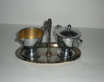 Silverplate Sugar and Creamer with Tray Universal Silver Plate