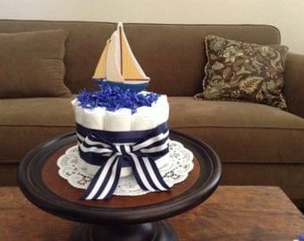 Nautical Anchor sailing Baby Shower Centerpiece Diaper Cakes other colors and sizes too