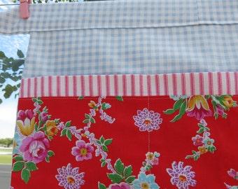 Farmers Market Craft Vendor Teacher Apron Cottage Red Flowers Blue check gingham Pink Ticking Roses Flowers OOAK