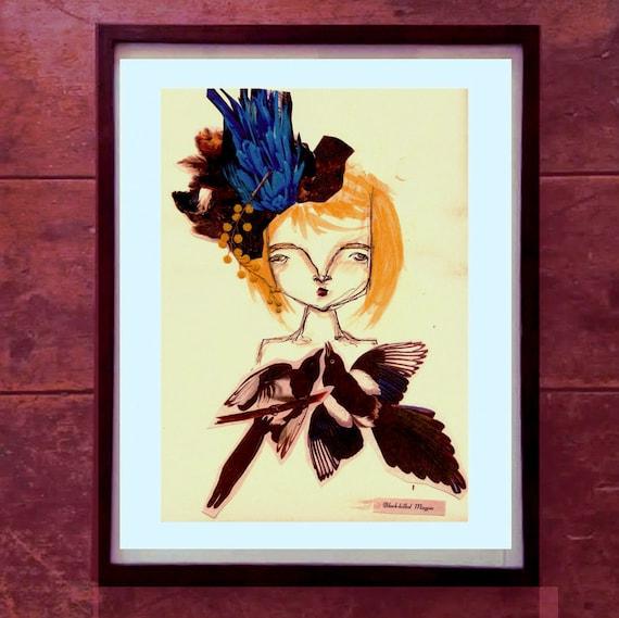 Gloria the Magpie Queen A3 Print // SALE