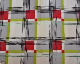 2 1/8 Yards 35 wide 50s cotton chintz plaid dressmaking fabric