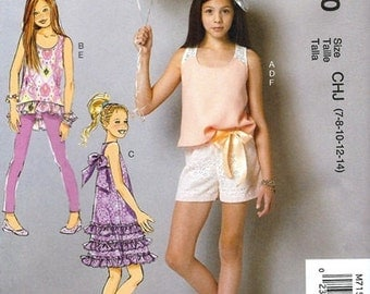 GIRLS CLOTHES PATTERN! Make Tunic - Dress - Shorts - Headband - Leggings / Summer Clothes /  Sizes 3 to 6 or 7 to 14