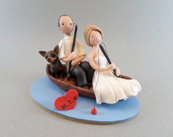 Personalized Fishing Theme Wedding Cake Topper