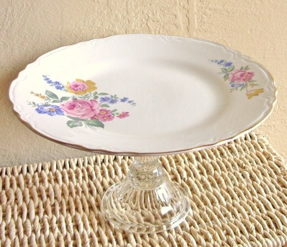 SALE Cupcake Dish Floral Pedestal Plate of Colorful Flowers