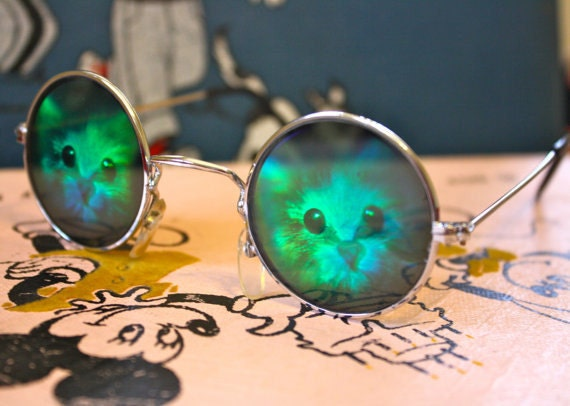 VTG 90's Cat  Lover Gift Set- Sunglasses-pin- Sticker