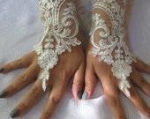 Bridal Wrist Cuffs,  Lace Gloves,ivory cuff