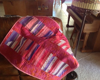 Girly girl pink purple and polka dots Quilt