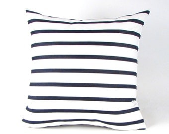 Indigo and White Stripe Pillow Cover - Navy and White Stripe Pillow Cover - INDOOR OUTDOOR - Lido Stripe Cover - Navy and White Pillow Cover