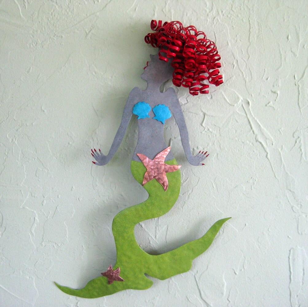 Metal Art Wall Mermaid Sculpture Glamorous Red Head Recycled
