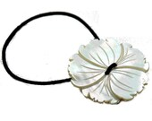 Mother of Pearl Ponytail Holder, Tropical Flower Design Carved Shell Hair Accessory, Hair Elastic, Hair Accessories, Vintage Button