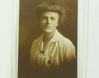 Woman with Locket Portrait Photograph, Early 1900s Gibson Girl Style Lovely Lady for your Found Family