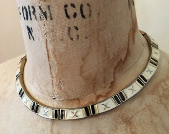 Vintage GOLD Black & White MODERN Minimalist Simple CHOKER Necklace