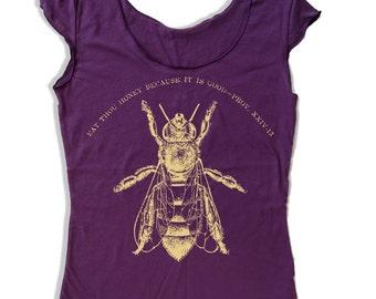 Womens Vintage HONEY Bee Scoop Neck Tee - american apparel T Shirt S M L XL (6 Colors)