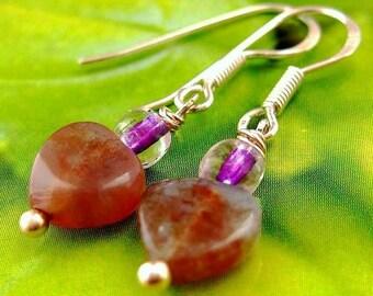 Heart earrings. Dusty pink moss agate.  Sweet Dreams
