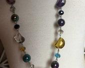 SALE - Swarovski Crystal Necklace - multi-colored crystal necklace - iridescent crystsl necklace - long crystal necklace - rainbow necklace