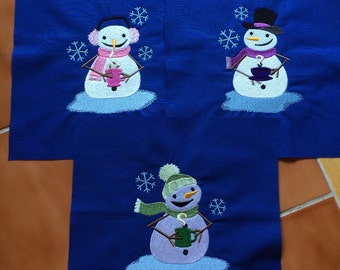 Snowmen drinking hot coffee, cocoa and tea - embroidered quilt blocks 9 inch / DIY / sewist / ready to quilt / ready to sew / gift / blue