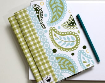 6 x 9 Paper Filled Journal, Two, Paisley and Gingham