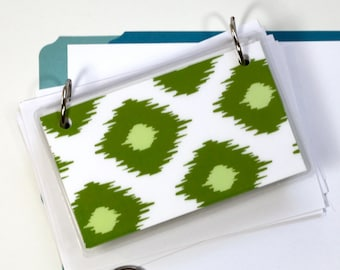 3 x 5 Index Card or Note Card Binder, Green Ikat