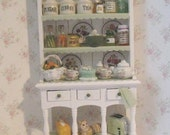 Dollhouse Hutch,filled, Pale colors,  Miniature  Dresser, pastel themed, filled, Twelfh scale, dollhouse miniature