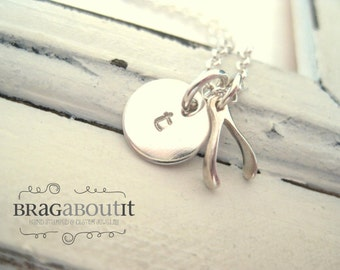 Hand Stamped Necklace . Personalized Jewelry . Brag About It . Teeny Tiny Wishbone