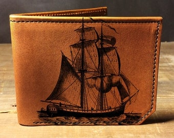 wallet - leather wallet - mens wallet - Pirate ship wallet - 002