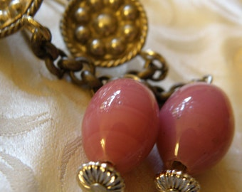 tribal earrings with pink  peking glass and antique chinese chain