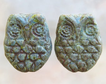 18x15mm Opaque Turquoise Heavy Picasso Czech Glass Horned Owl Beads - Qty 6 (BS245)